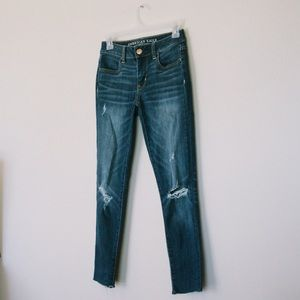 American Eagle Cropped Distressed Skinny Jeans